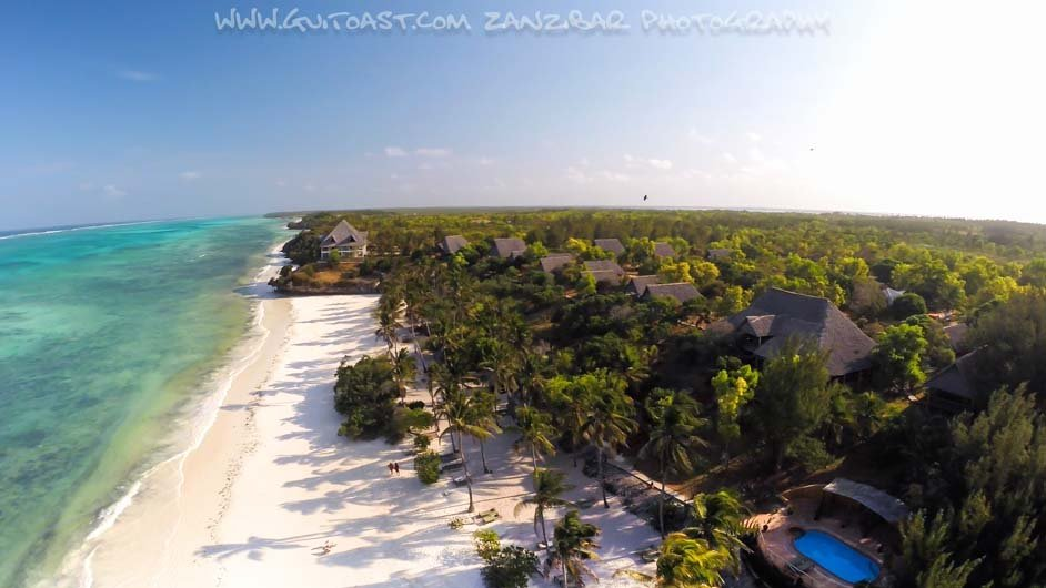 Aerial View of Kichanga lodge from distance zanzibar accommodations deals