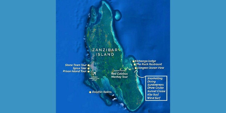 Beach Map For Kichanga Lodge In Zanzibar | Kichanga Lodge on